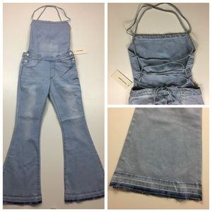 NWT AMERICAN BAZI Lace Up Back Flared Leg Overalls